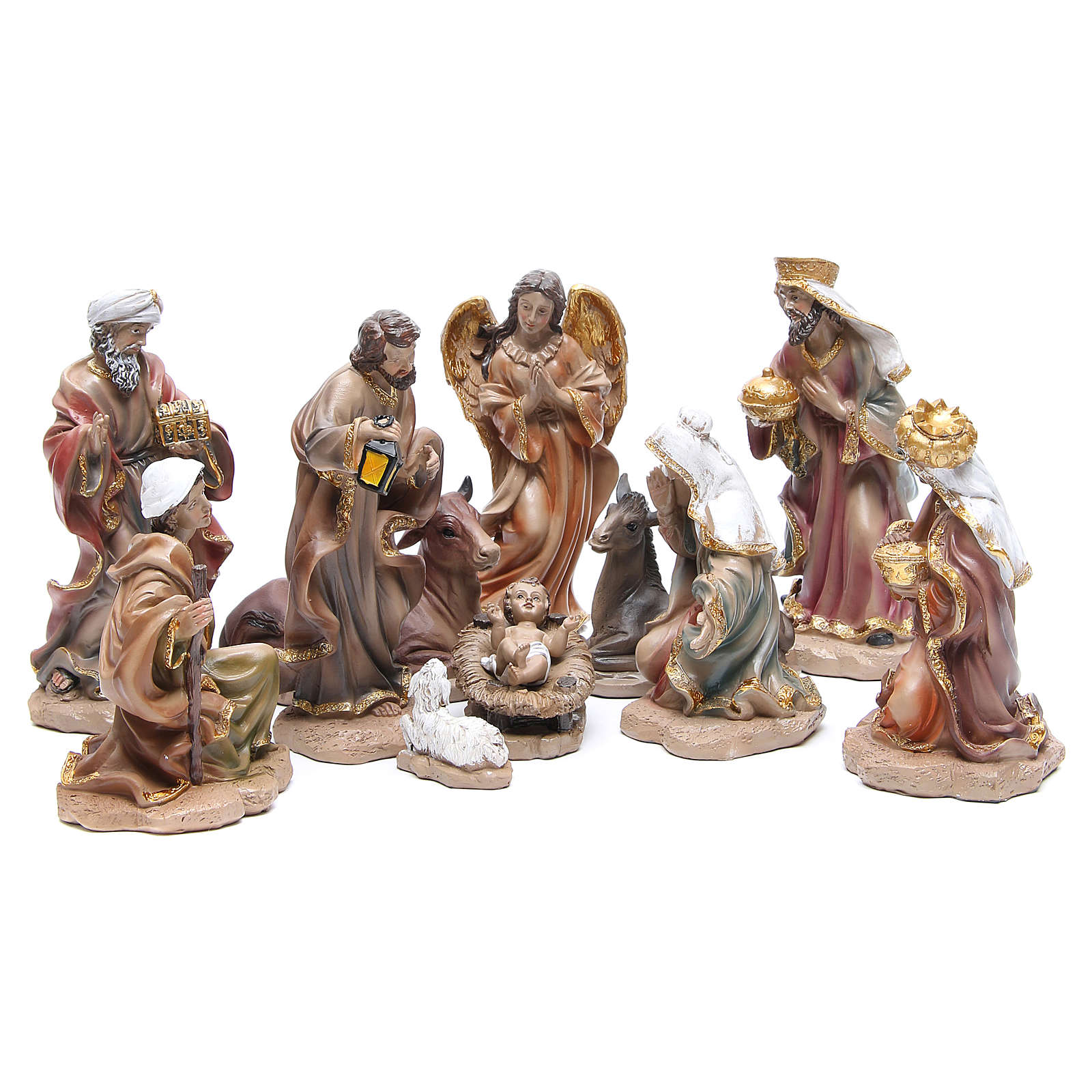 Resin nativity set measuring 20cm, 11 figurines in Wood-like effect 4