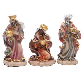 Resin nativity set measuring 20cm, 11 figurines in Wood-like effect s4