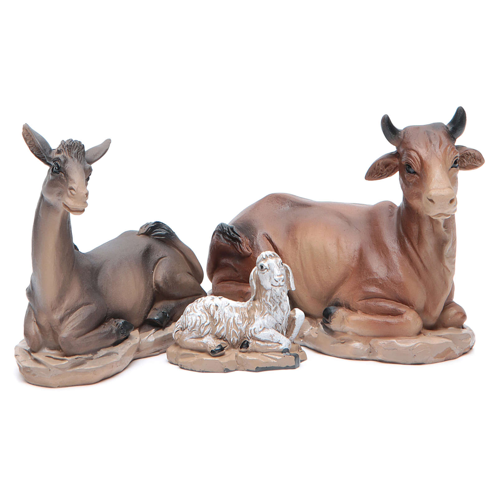 Resin nativity set measuring 20.5cm, 11 figurines with golden finish 4