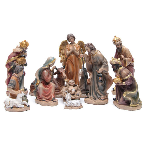 Resin nativity set measuring 20.5cm, 11 figurines with golden finish 1