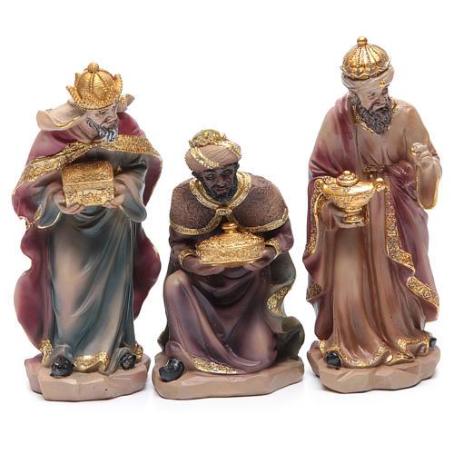 Belén resina 20,5 cm de altura media 11 figuras peculiares doradas 4