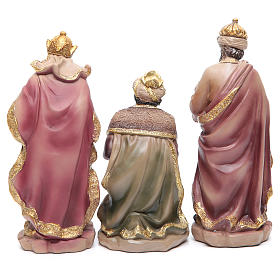 Resin nativity set measuring 20.5cm, 11 figurines with golden finish s5