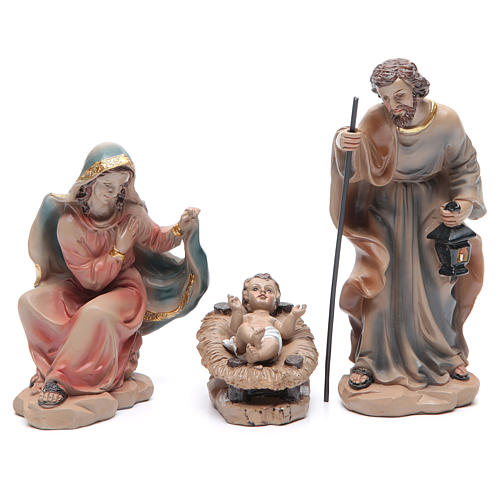Resin nativity set measuring 20.5cm, 11 figurines with golden finish 2
