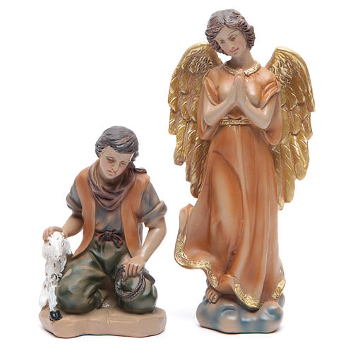 Resin nativity set measuring 20.5cm, 11 figurines with golden finish 3