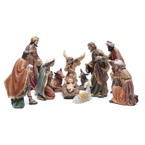 Presepe h. 29 cm in resina set di 11 pezzi decorati 1