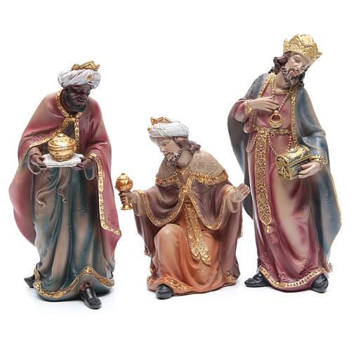 Presepe h. 29 cm in resina set di 11 pezzi decorati 4