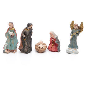 Mini nativity set in resin measuring 3.3cm, 11 figurines with soft colours s2