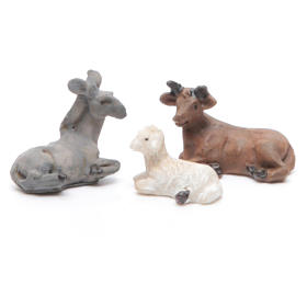 Mini nativity set in resin measuring 3.3cm, 11 figurines with soft colours s4