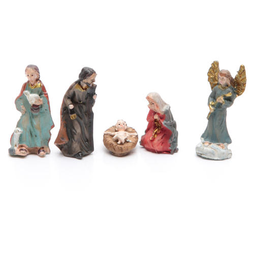 Mini nativity set in resin measuring 3.3cm, 11 figurines with soft colours 2