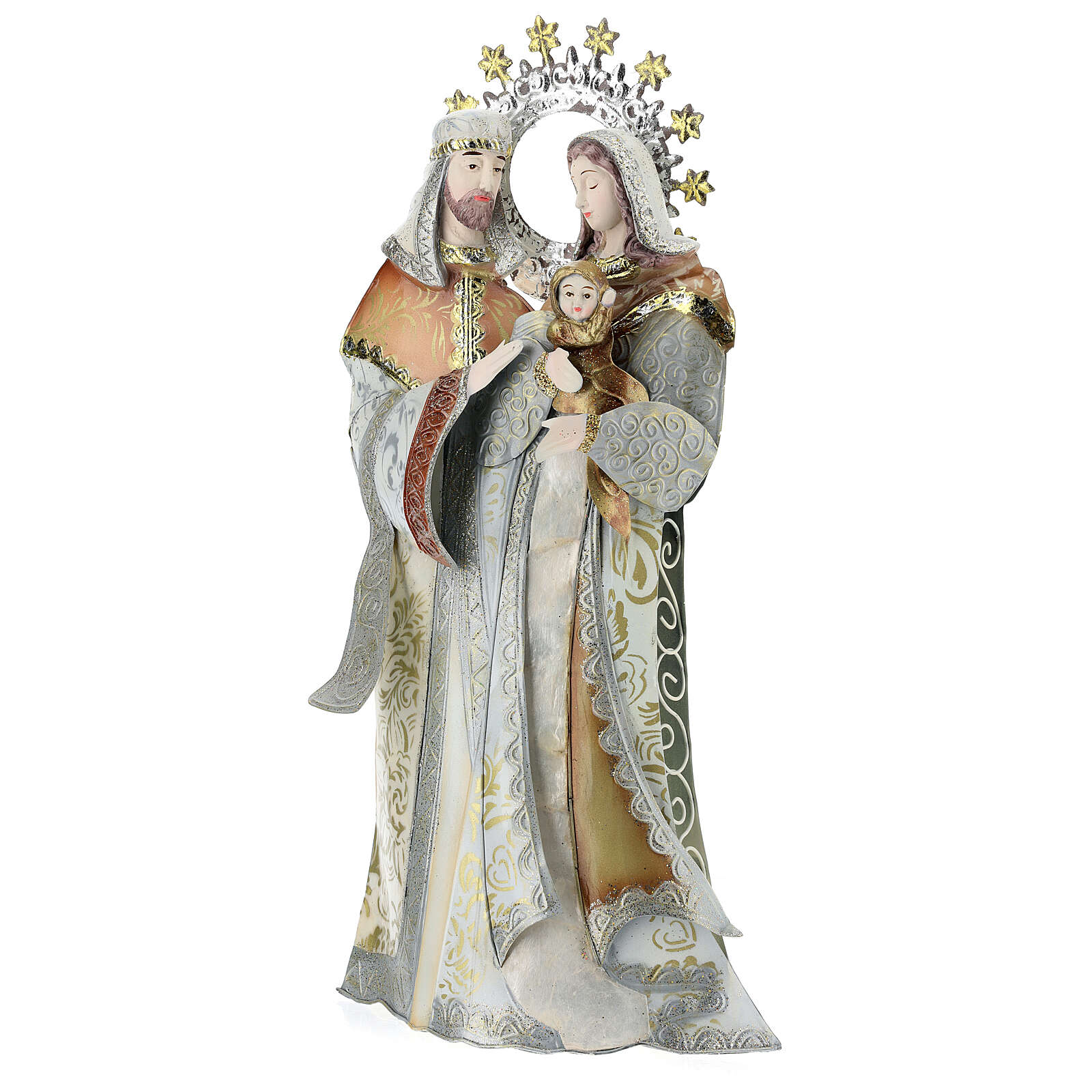 Maria Giuseppe Gesù stilizzati presepe metallo 4