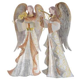 Anges musiciens set 2 pcs stylisés crèche métal s4