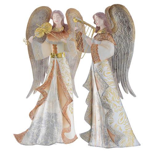 Anges musiciens set 2 pcs stylisés crèche métal 4