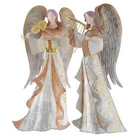 Anjos músicos conjunto 2 figuras estilizadas presépio metal s4