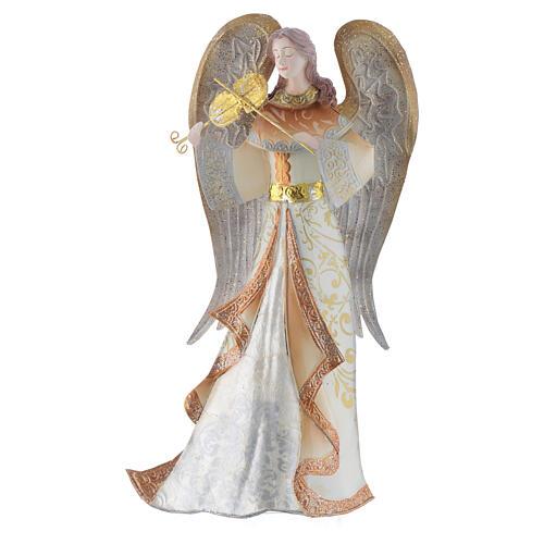 Anjos músicos conjunto 2 figuras estilizadas presépio metal 6