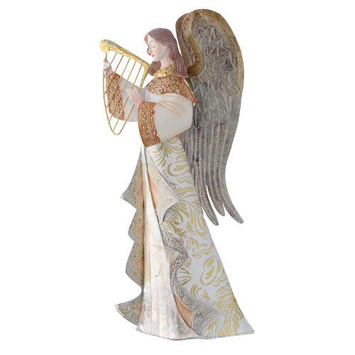 Anjos músicos conjunto 2 figuras estilizadas presépio metal 1