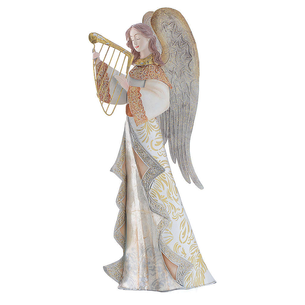 Musician Angels, set of 2 pcs, stylised nativity figurines in metal 4