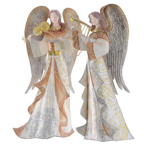 Musician Angels, set of 2 pcs, stylised nativity figurines in metal 1
