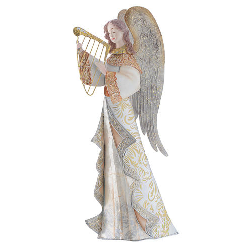Musician Angels, set of 2 pcs, stylised nativity figurines in metal 2