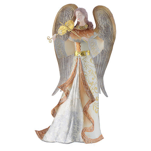Musician Angels, set of 2 pcs, stylised nativity figurines in metal 3