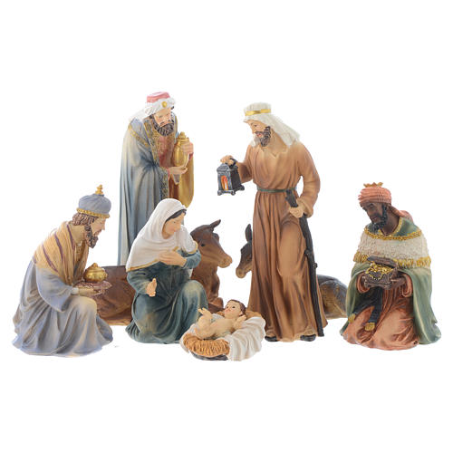 Resin nativity figurines, 8 pieces for a nativity of 20.5cm 1