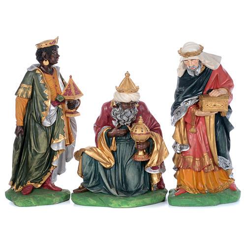 Painted fiberglass nativity scene with 9 statues, 95 cm   3