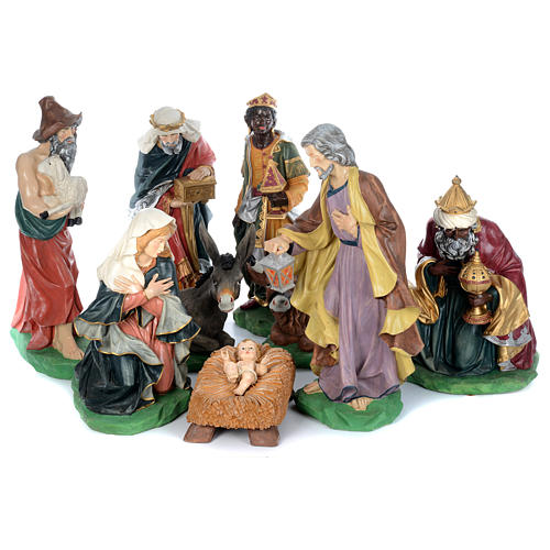 Painted fiberglass nativity scene with 9 statues, 95 cm   1