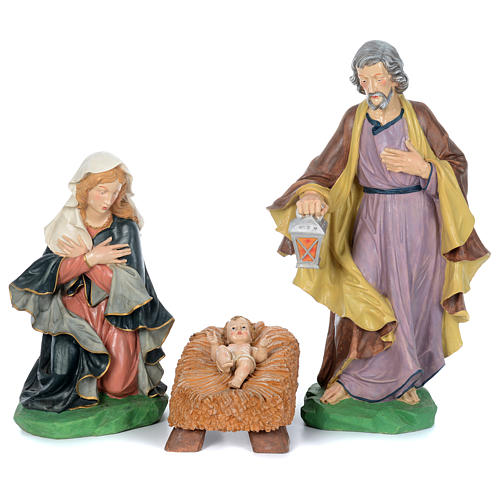 Painted fiberglass nativity scene with 9 statues, 95 cm   2