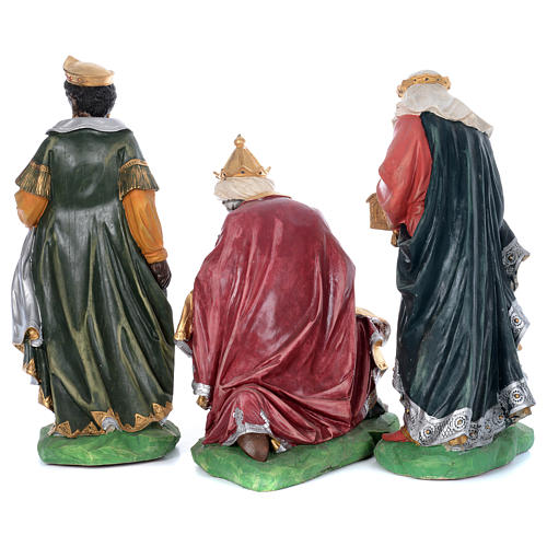 Painted fiberglass nativity scene with 9 statues, 95 cm   4
