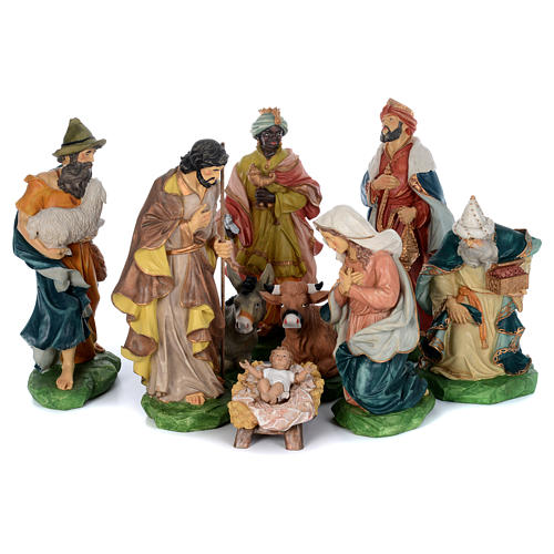 Resin nativity scene set 9 pieces 65 cm 1