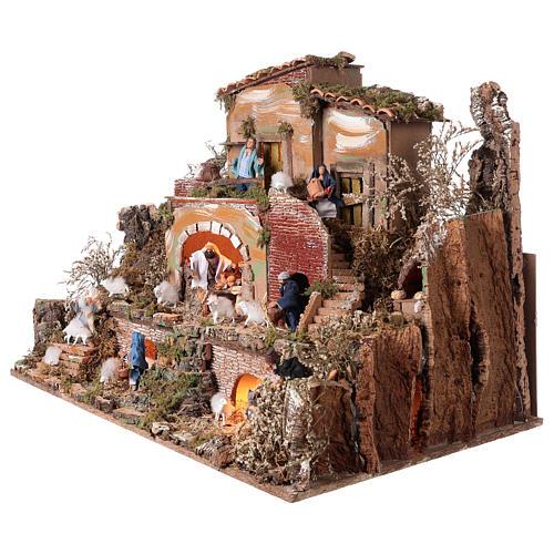 Burg für Krippe mit Licht, Krippenfiguren und 5 bewegliche Figuren 60x80x50cm 3