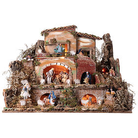 Illuminated nativity scene village with shepherds 12 cm- 5 movements 60x80x50 cm s1