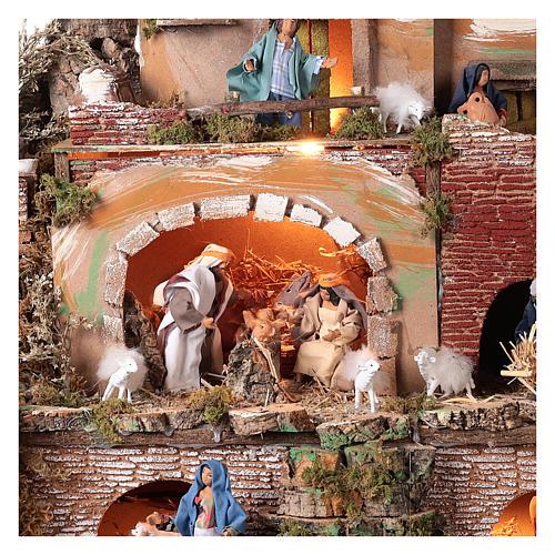 Illuminated nativity scene village with shepherds 12 cm- 5 movements 60x80x50 cm 2