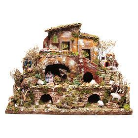 Borgo illuminato con pastori 12 cm - 5 movimenti  60x80x50 cm s4