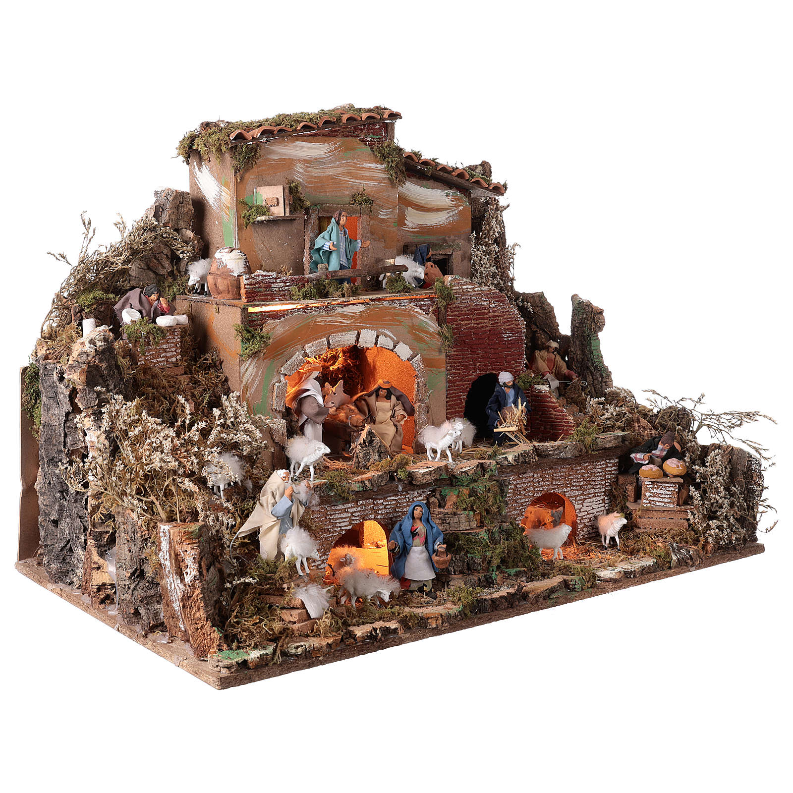 Illuminated nativity scene village with shepherds 12 cm- 5 movements 60x80x50 cm 4