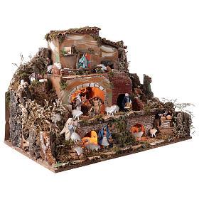 Illuminated nativity scene village with shepherds 12 cm- 5 movements 60x80x50 cm s4