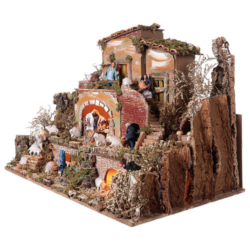 Illuminated nativity scene village with shepherds 12 cm- 5 movements 60x80x50 cm 3