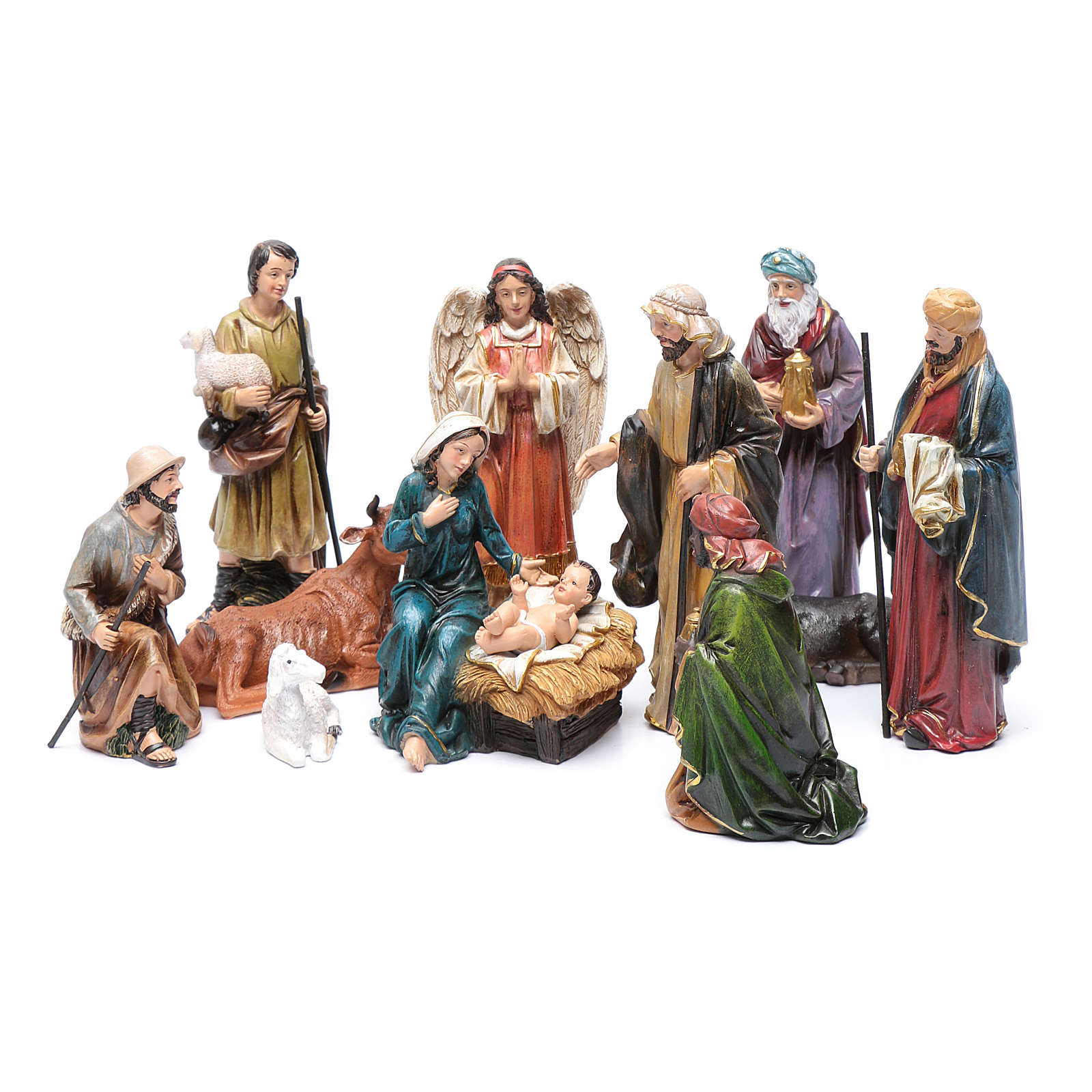 Resin nativity scene set of 12 pieces sized 20 cm	 4