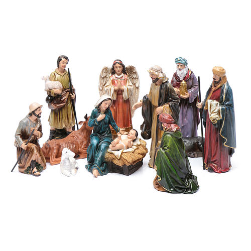 Resin nativity scene set of 12 pieces sized 20 cm	 1