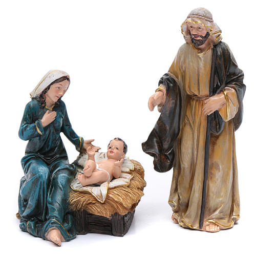 Resin nativity scene set of 12 pieces sized 20 cm	 2