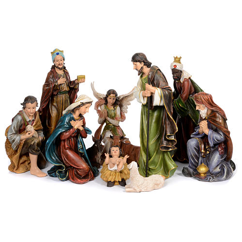 Resin nativity scene set of 11 pieces 76 cm 1