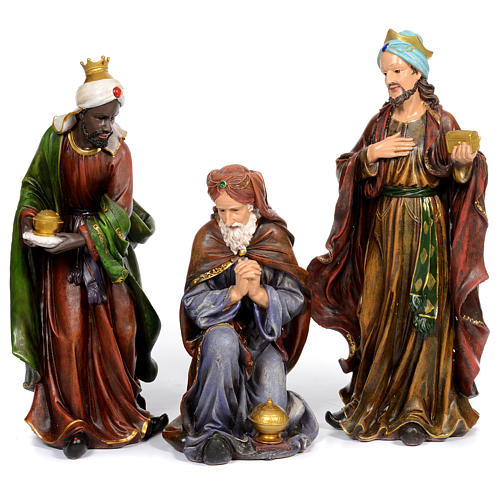 Resin nativity scene set of 11 pieces 76 cm 3