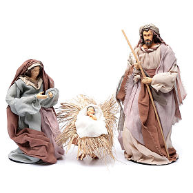 Country style nativity scene with 6 pieces in resin and gauze 45 cm s2