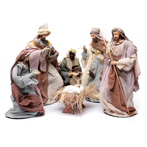 Country style nativity scene with 6 pieces in resin and gauze 45 cm 1