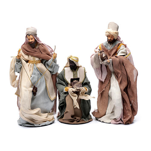 Country style nativity scene with 6 pieces in resin and gauze 45 cm 3
