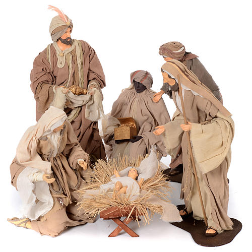 Presepe natural set 6 pz resina 50 cm 1