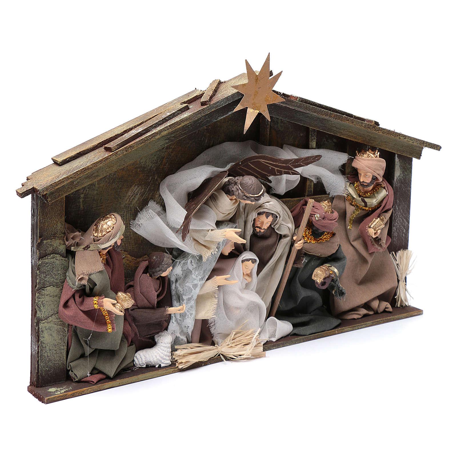 Escena belén en cabaña marco 35 cm personajes resina 4