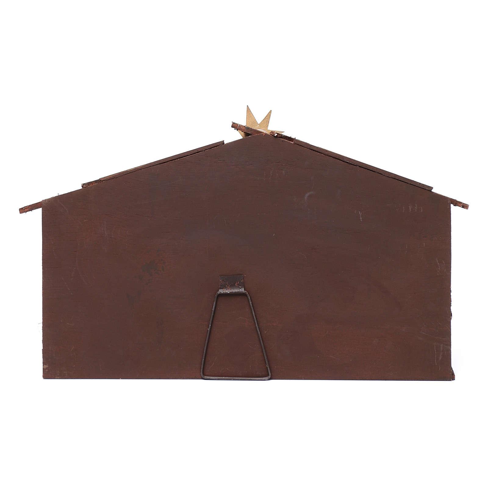 Scène crèche dans cabane cadre 35 cm santons résine 4