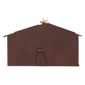 Scène crèche dans cabane cadre 35 cm santons résine s4