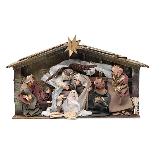 Resin nativity scene setting in hut with frame 35 cm 1
