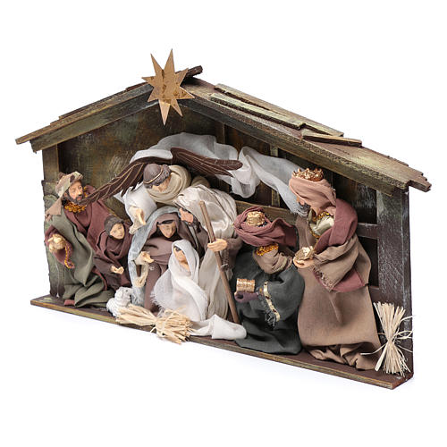 Resin nativity scene setting in hut with frame 35 cm 2